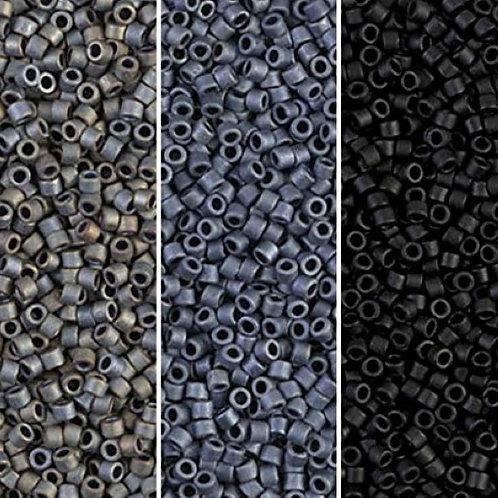 Miyuki Delica 11/0 -Matte Black Gray Collection