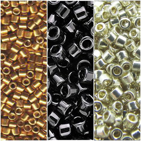 Miyuki Delica 11/0 - Duracoat Galvanized Gold, Silver & Opq. Black Palette