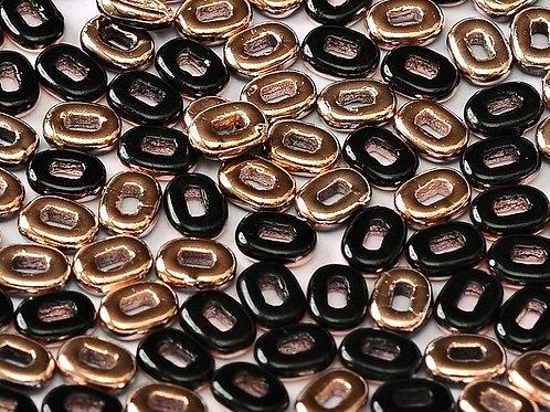 Czech One Beads 3.5x5mm - Jet Capri Gold 10g