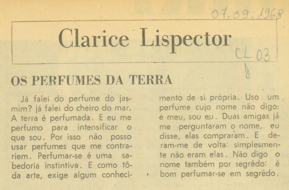 Perfumes da terra clarice lispector perfume