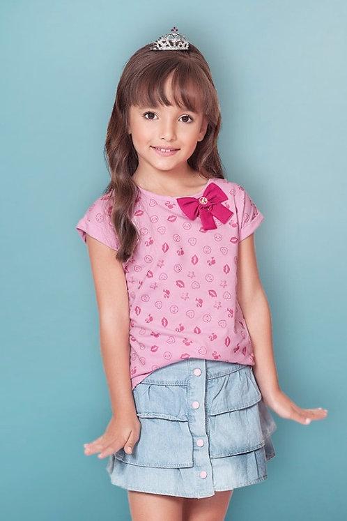 Blusa Estampada Barbie c/ Laço