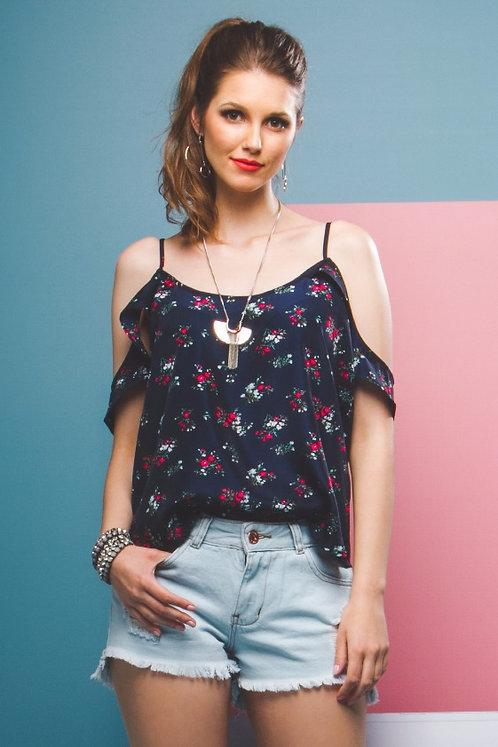 Blusa Floral de Alça c/ Babado