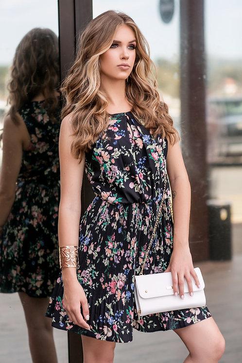 Vestido Floral c/ Saia Plissada