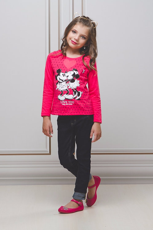 Blusa Manga Longa Estampa Mickey & Minnie