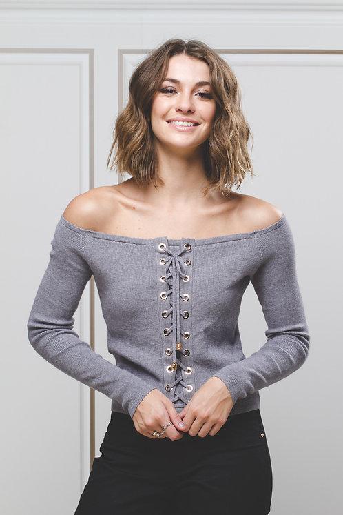 Blusa Cropped em Tricô c/ Ilhós