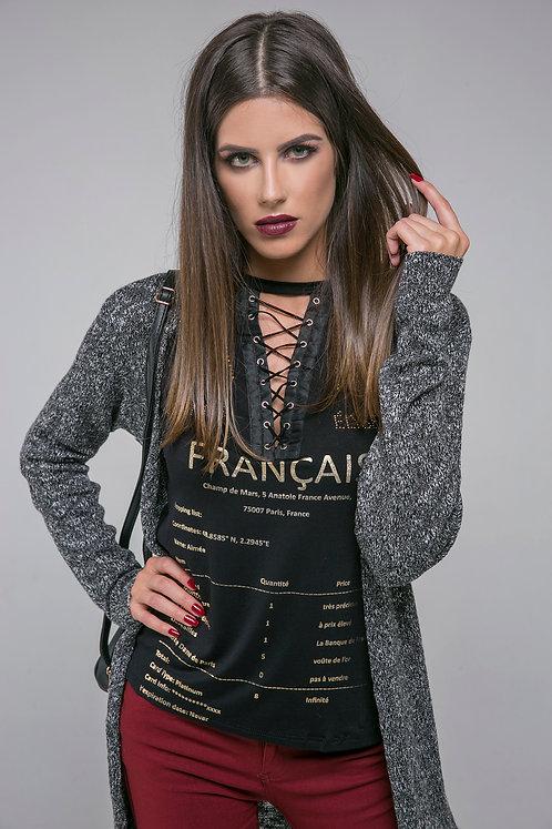 Blusa Estampada c/ Amarração Frontal