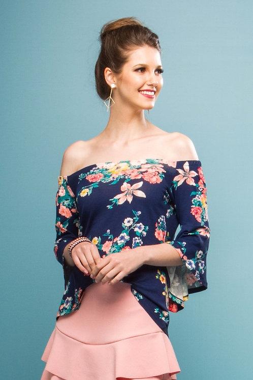 Blusa Ombro a Obro 3/4 c/ Estampa Floral