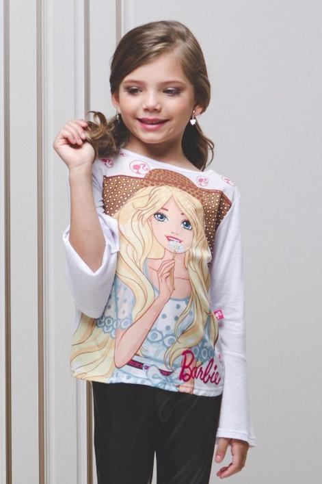 Blusa Manga Longa Estampa Barbie