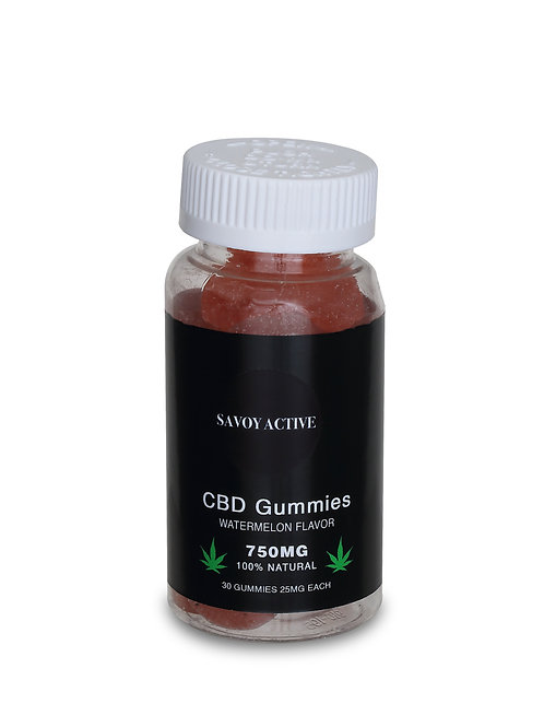 CBD Gummies - Watermelon - 750MG CBD - 100% Natural - 30 Gummies (25MG Each)