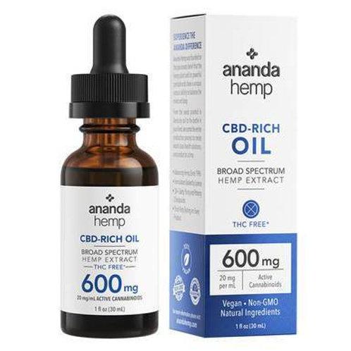 Ananda Hemp - CBD Tincture - Broad Spectrum Hemp Extract - 600mg