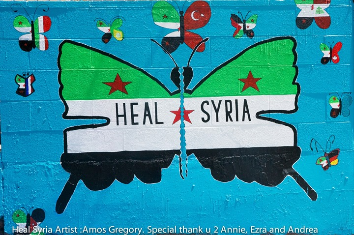 Heal Syria...Location San Francisco, Ca. Artist_ Amos Gregory. Shout out to Annie Yu, Ezra, Mia and