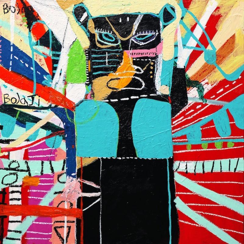 Adebayo Bolaji, Duro (2021) Acrylic, Wax Crayon and Oil Pastel on Cotton.JPG