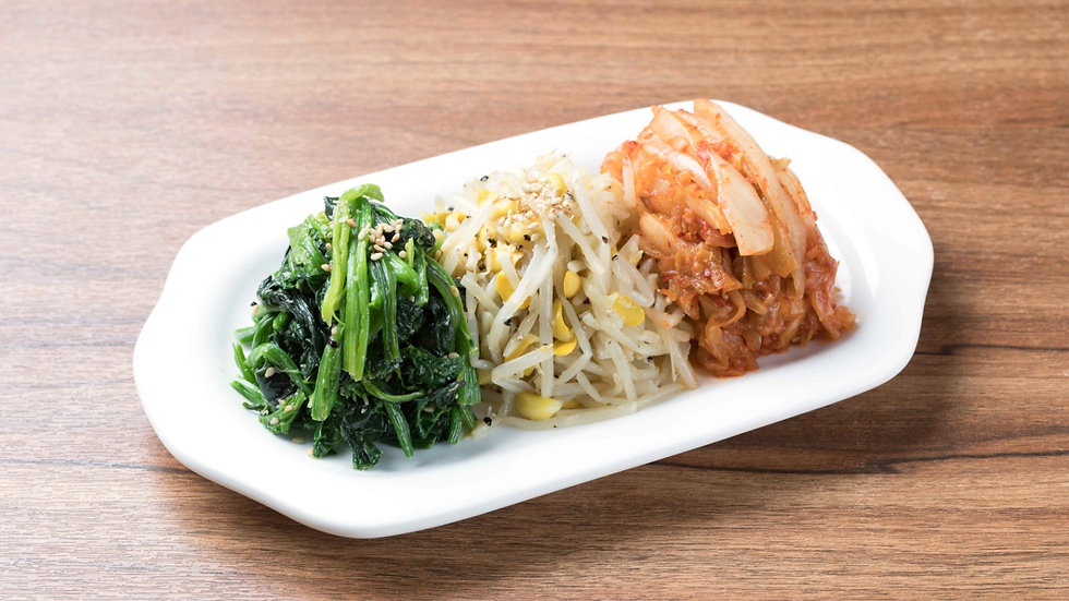 298 Home Made Kimchi, Seasoned Spinach & Bean Sprout