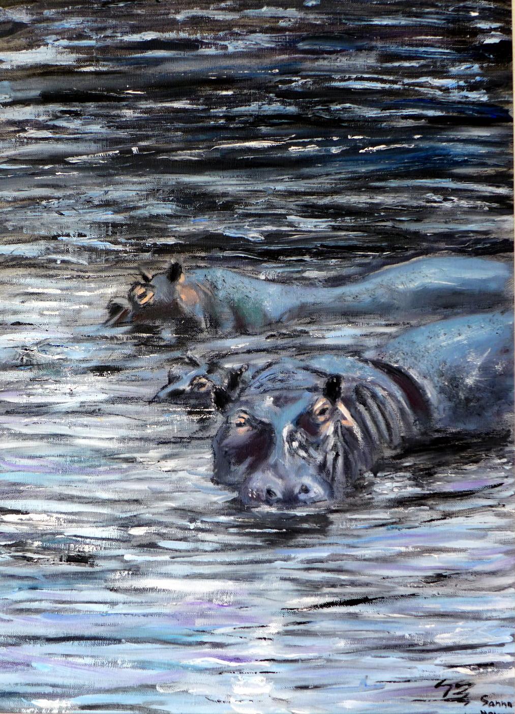 Hippos drifting - ©sanna holm 2014