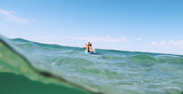 surfing on glassy water