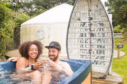 Hot tube after a surf Cornwall Surf Yoga Retreat Wild Free
