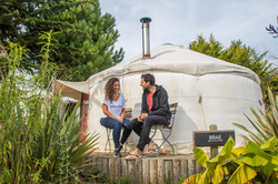 Enjoying the yurt village Cornwall Surf Yoga Retreat Wild Free