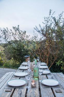 Table set for dinner Cornwall Surf Yoga Retreat Wild Free