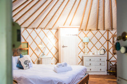 Inside a yurt Cornwall Surf Yoga Retreat Wild Free