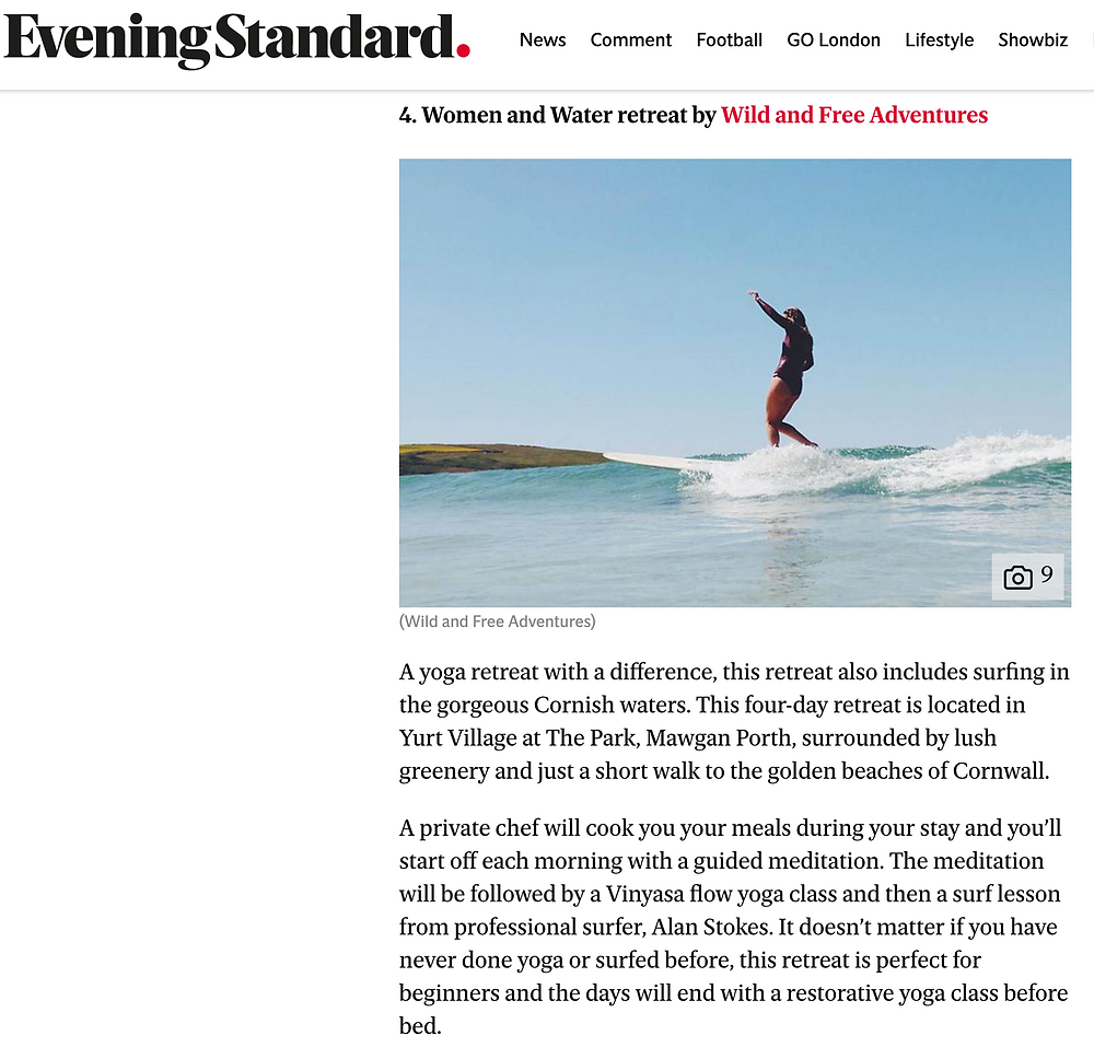 Evening Standard, Wild & Free Adventures, Philly Lewis, Alan Stokes, best wellness retreat, surf and yoga, Cornwall, retreat