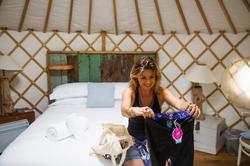 Enjoying the Wild & Free goodie bag Cornwall Surf Yoga Retreat Wild Free