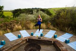 Outdoor yoga area Cornwall Surf Yoga Retreat Wild Free