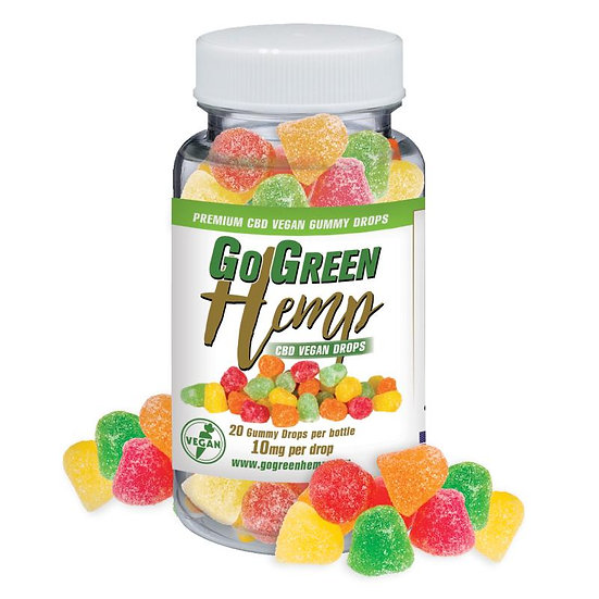 GoGreen Hemp CBD 10mg Vegan Sour Gummy Drops