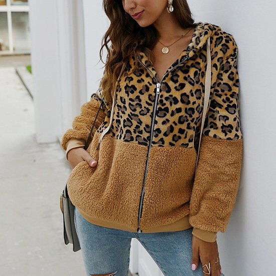 Autumn Winter Sweatshirts Women Hooded Leopard Hoodies