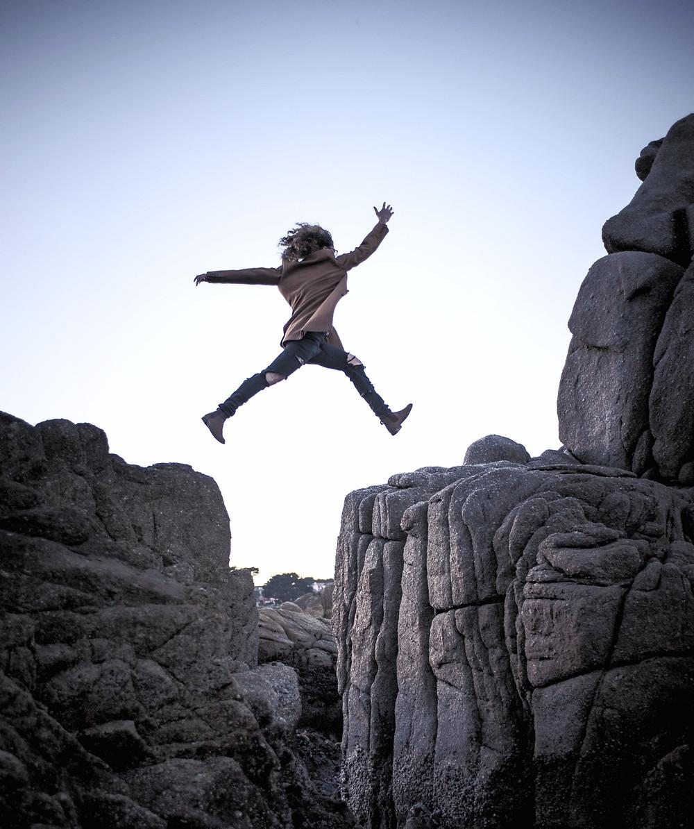 courage, ahimsa, jumping, cliff, yoga