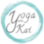 Logo with Yoga with Kat written inside a blue irregular circle.