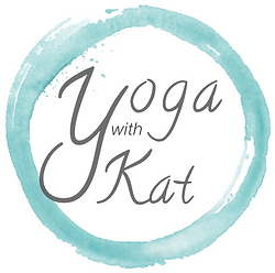 Logo with Yoga with Kat written inside a blue irregular circle.