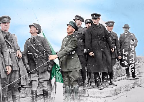 Raising Flag over Athlone Castle Feb 1922