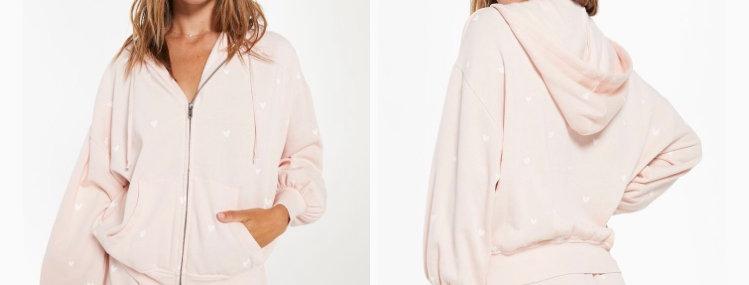 Z Supply Hearts Full Hoodie & Lover Fleece Shorts