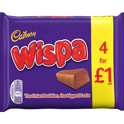 Cadbury Wispa Chocolate Bars 4 Pack - £1