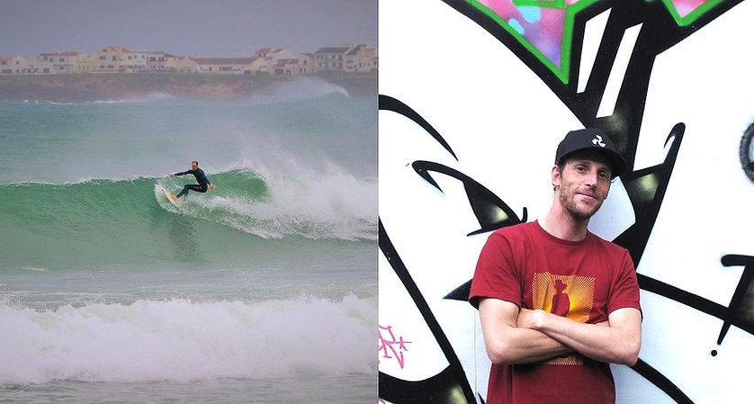 Porträt von Emanuel Tonet sowie Emanuel Tonet beim Surfen
