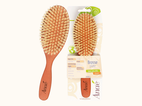 Brosse à cheveux en bois de poirier et soies naturelles