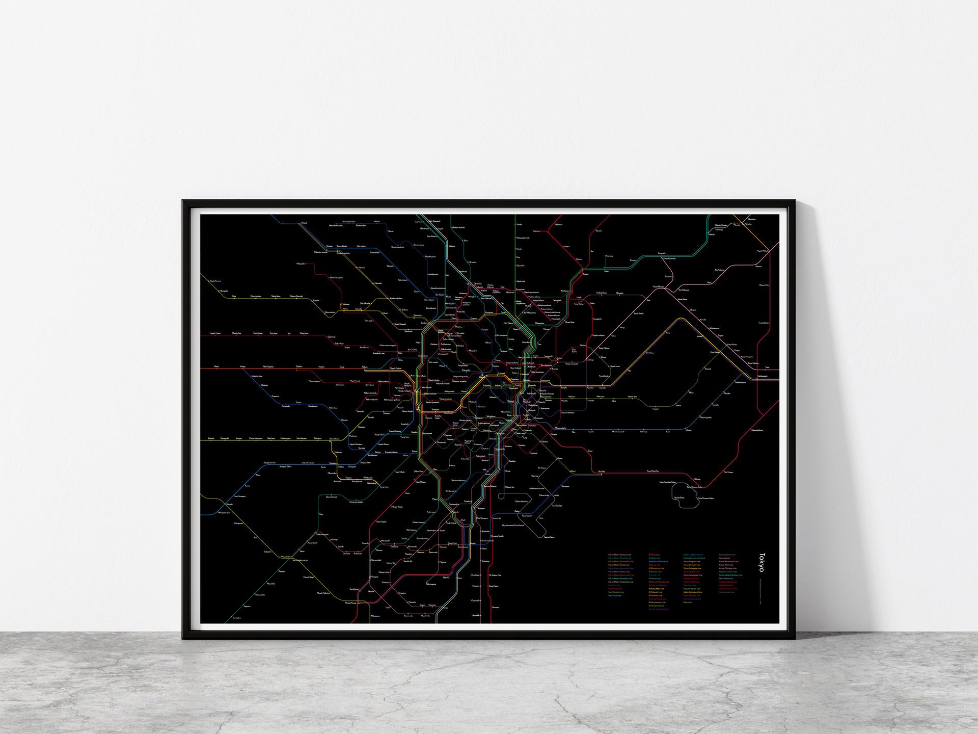 MU - Tokyo Rail Map poster