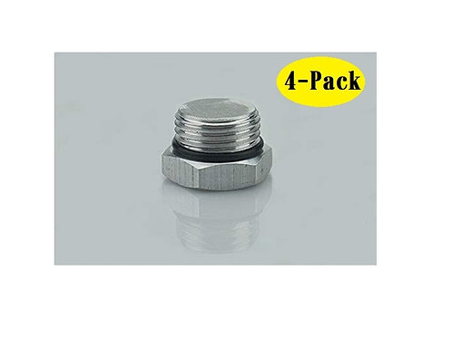 """Aluminum Alloy G1/2"""" Thread Silver Plug with O-Ring, 4-Pack"""