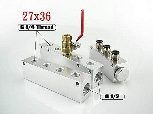 6 Way 8 Port Aluminum Air Hose Inline Manifold Block Splitter