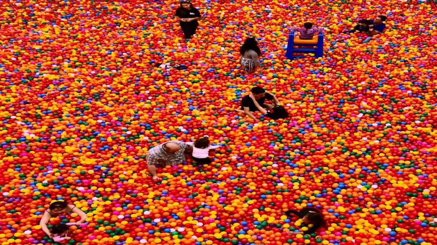 people playing in a ball pit