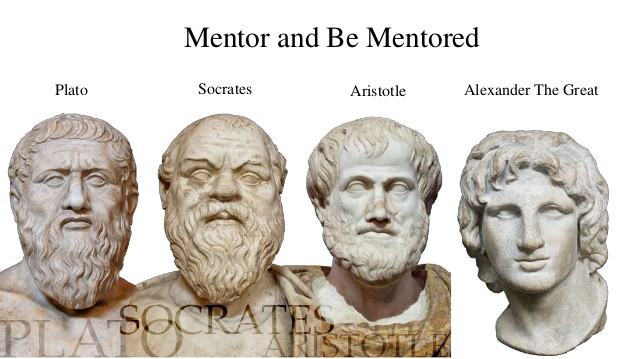 Busts of plato, socrates, aristotle, alexander the great