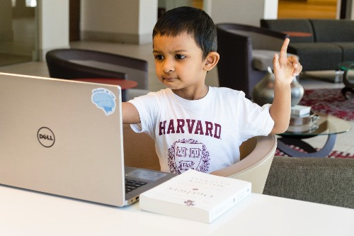 small child sat in front of a laptop raising hand