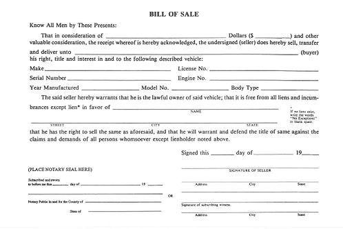 Bill of Sale/100 Pad - 1550