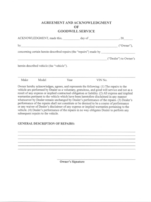 Goodwill Agreement/20 Pad - 1601