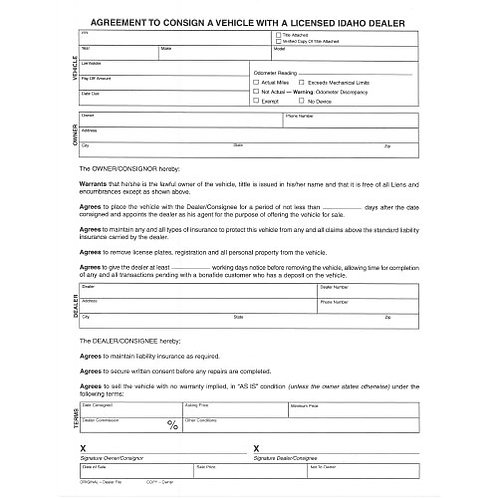 Consignment Agreement/Pad 100 - 1300