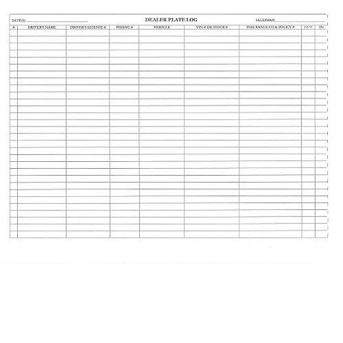 Dealer Plate Log Book - 2500