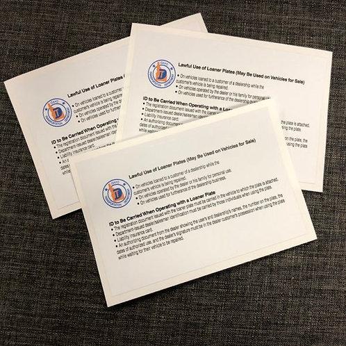 Loaner Plate Sticker (3 Pack) - 6033