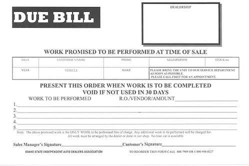 Due Bill/50 Pad - 1600