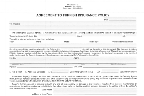 Proof of Insurance/100 Pad - 2100