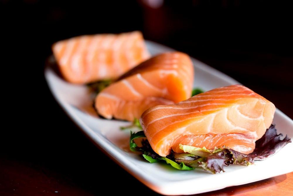 salmon, rich in omega-3
